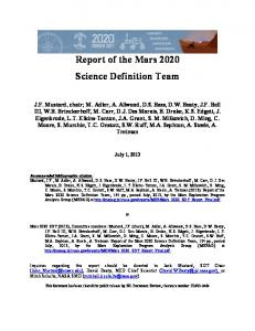 Report of the Mars 2020 Science Definition Team - mepag - NASA