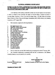 Report of the Standing Committee on States & Frontier Regions on ...
