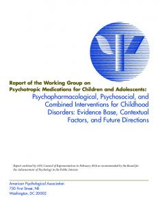 Report of the Working Group on Psychotropic Medications