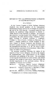 REPORT ON THE 1928 INTERNATIONAL CONGRESS OF ...