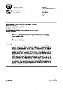 Report on the experience-sharing workshop on technology needs ...