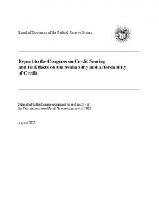Report to Congress on Credit Scoring