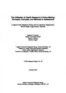 REPORT TO WHO - World Health Organization