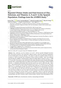 Reported Dietary Intake and Food Sources of Zinc, Selenium ... - MDPI