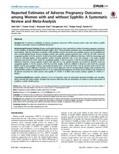 Reported Estimates of Adverse Pregnancy Outcomes ... - CiteSeerX