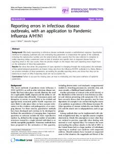 Reporting errors in infectious disease outbreaks, with ... - BioMedSearch