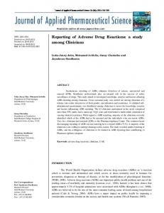 Reporting of Adverse Drug Reactions - Journal of Applied ...