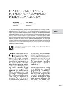 Repositioning stRategy foR Malaysian CoMpanies ... - Journal UI