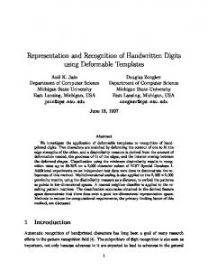 Representation and Recognition of Handwritten Digits ... - CiteSeerX