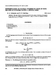 REPRESENTATION OF NATURAL NUMBERS BY ... - Springer Link