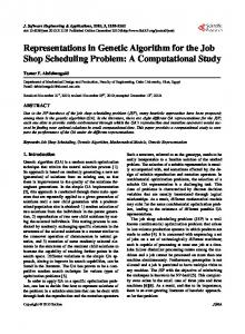 Representations in Genetic Algorithm for the Job Shop Scheduling ...