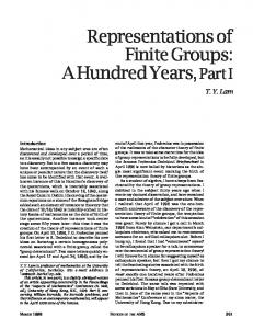 Representations of Finite Groups: A Hundred Years, Part I