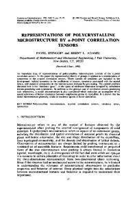 REPRESENTATIONS OF POLYCRYSTALLINE MICROSTRUCTURE