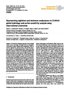 Representing nighttime and minimum conductance in CLM4.5 - GMD