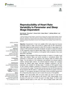 Reproducibility of Heart Rate Variability Is