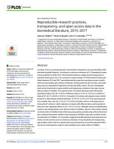 Reproducible research practices, transparency, and open ... - PLOS