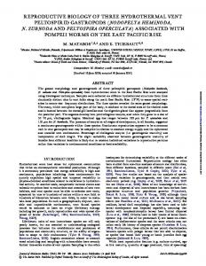 reproductive biology of three hydrothermal vent ...