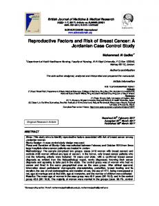 Reproductive Factors and Risk of Breast Cancer: A ...