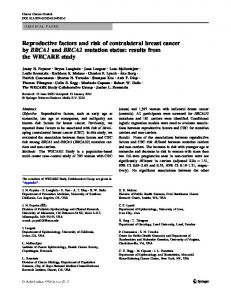 Reproductive factors and risk of contralateral breast cancer by BRCA1 ...