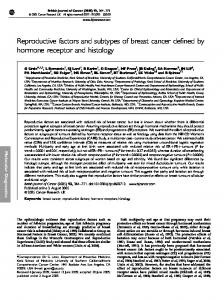 Reproductive factors and subtypes of breast cancer ... - BioMedSearch