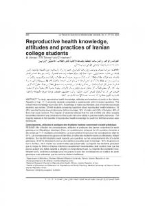 Reproductive health knowledge, attitudes and practices of Iranian ...