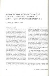 Reproductive Morbidity Among Currently Married Women in South India