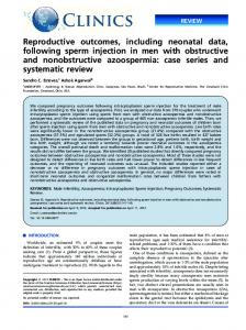 Reproductive outcomes, including neonatal data, following sperm ...