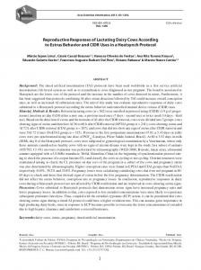 Reproductive Responses of Lactating Dairy Cows ...