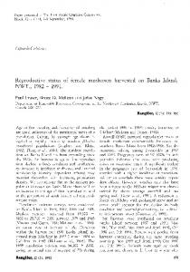 Reproductive status of female muskoxen harvested on Banks Island ...