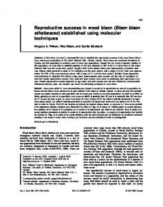 Reproductive success in wood bison (Bison bison athabascae ...