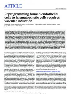 Reprogramming human endothelial cells to haematopoietic ... - Nature