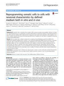 Reprogramming somatic cells to cells with neuronal characteristics by ...