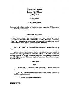 Republic Act 8353 - Philippine Commission on Women