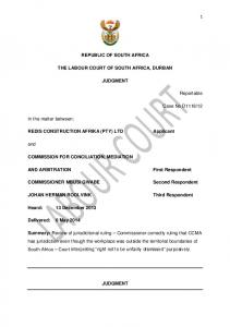 REPUBLIC OF SOUTH AFRICA THE LABOUR COURT OF SOUTH AFRICA ...