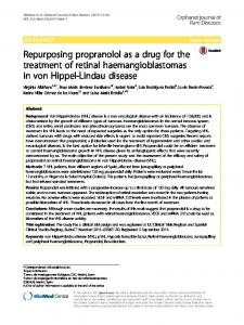 Repurposing propranolol as a drug for the treatment of retinal ...