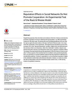 Reputation Effects in Social Networks Do Not Promote Cooperation ...