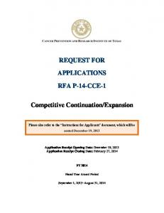 REQUEST FOR APPLICATIONS RFA P-14-CCE-1 Competitive ...