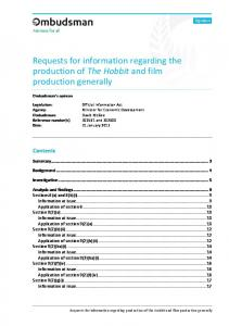 Requests for information regarding the production of The Hobbit and ...