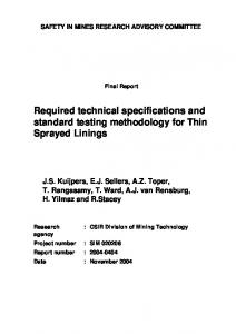 Required technical specifications and standard testing methodology ...