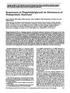 Requirement of Phosphatidylglycerol for ... - Plant Physiology