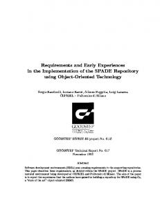 Requirements and Early Experiences in the ... - CiteSeerX