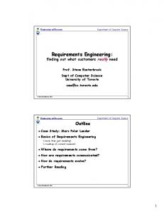 Requirements Engineering: - Department of Computer Science