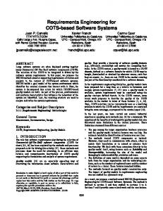 Requirements Engineering for COTS-Based Software Systems