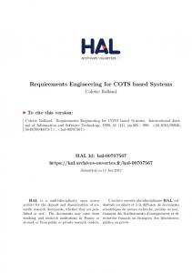 Requirements Engineering for COTS based Systems - Hal