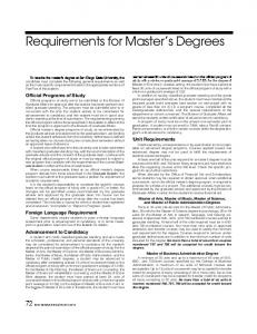 Requirements for Master's Degrees - San Diego State University