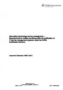 Requirements - ISO/IEC 20000 Certification