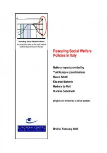 Rescaling Social Welfare Policies in Italy - European Centre for Social ...