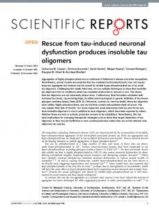 Rescue from tau-induced neuronal dysfunction ... - Semantic Scholar