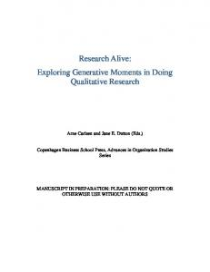 Research Alive: Exploring Generative Moments in ...