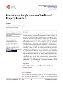 Research and Enlightenment of Intellectual Property Insurance